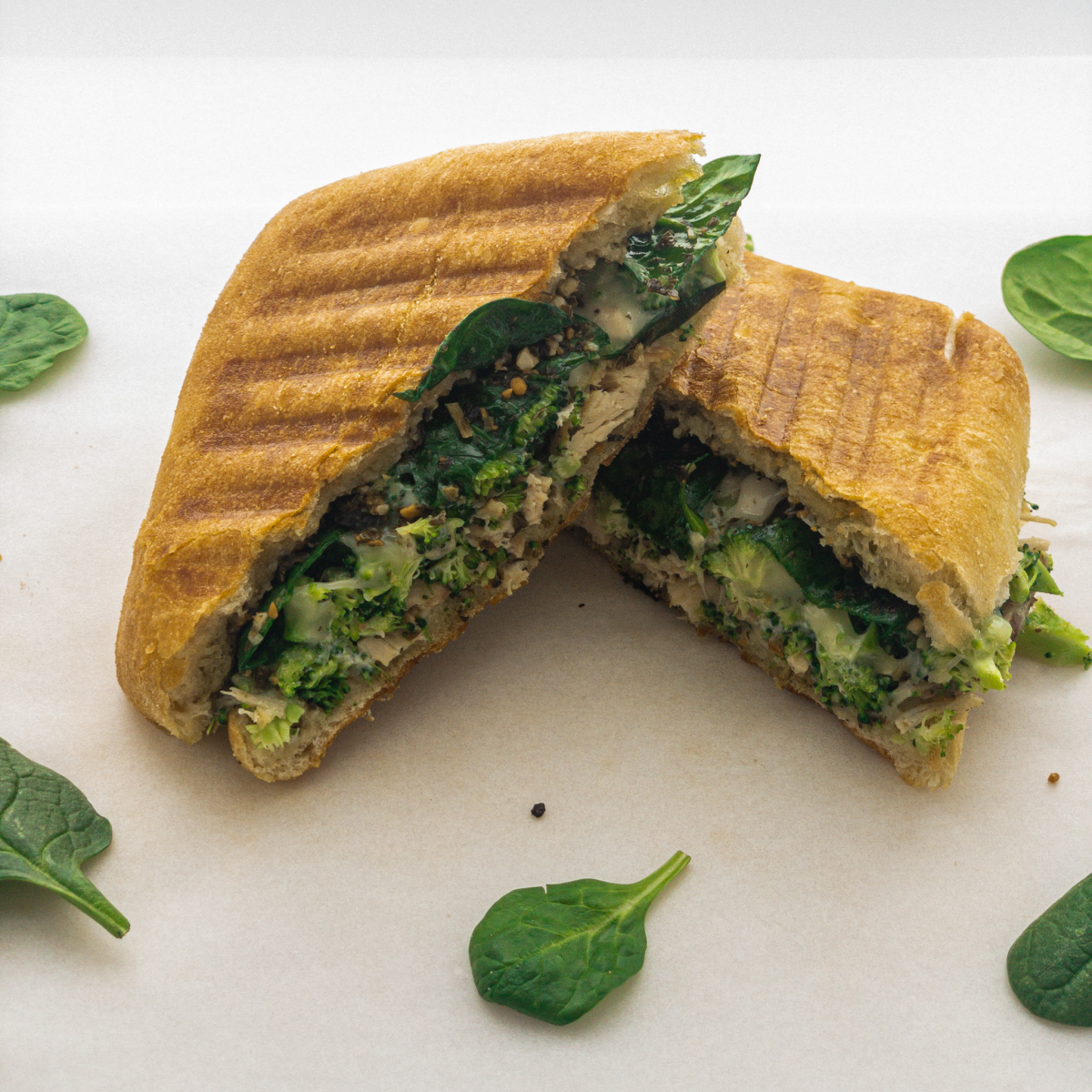 Cheesy Oregano Chicken & Broccoli Pesto Panini