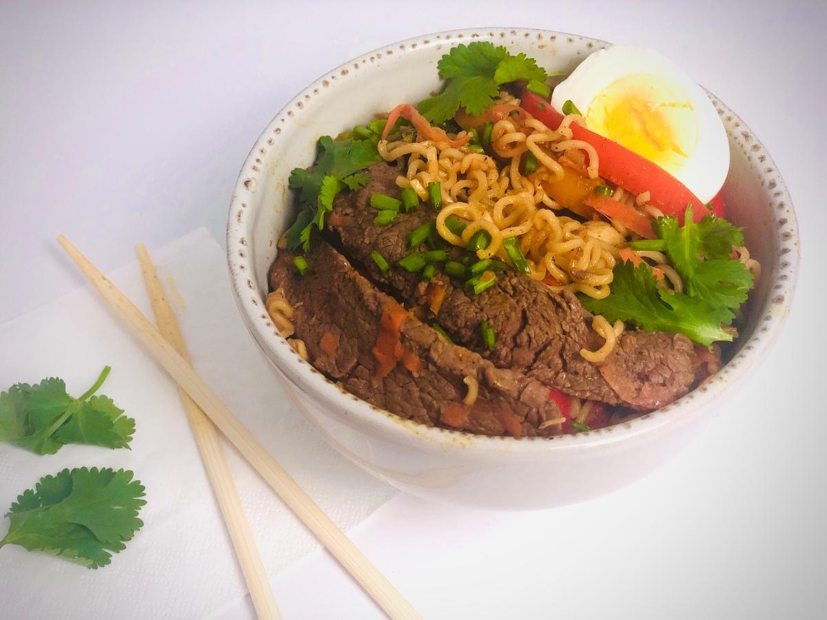 Miso Beef and Ramen Noodle PeanutStir-Fry